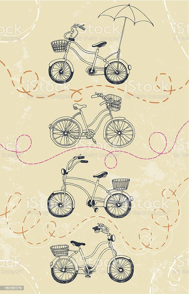 Set of Bicycles royalty-free stock vector art