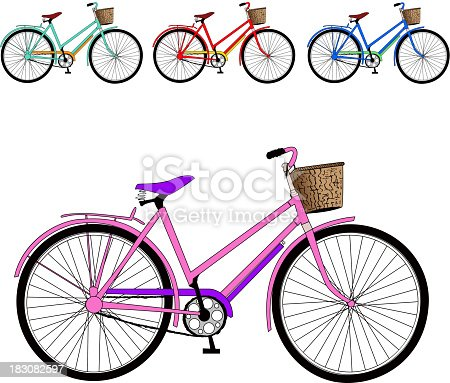 set of color bicycles. Vector illustration