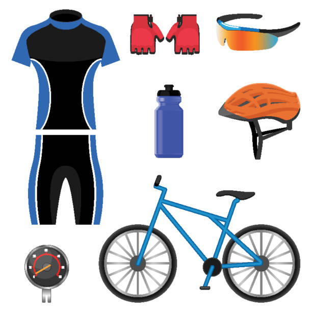 Set of bicycling icons vector illustration isolated on white background. vector art illustration