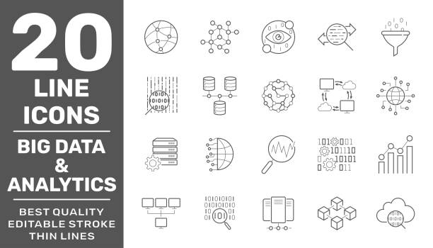 Set of big data and data analytics icon set. Related technology vector line Icons. Contains such Icons as Cloud Computing, Traffic Analysis, Big Data, IoT and more. Editable Stroke. EPS 10 vector art illustration