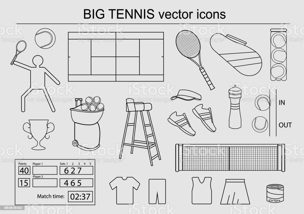 Set of big tennis vector icons vector art illustration