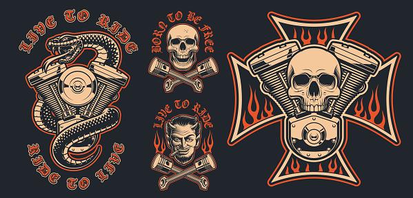 Set of  biker emblems on a dark background.