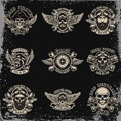 Set of biker emblems. Racer skull with crossed pistons. Extreme motorsport. Design elements for  label, emblem, sign. Vector illustration