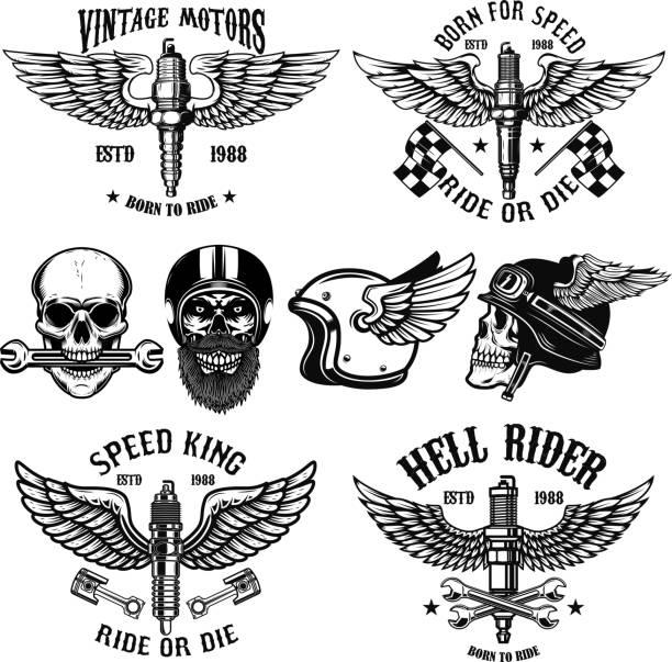 illustrations, cliparts, dessins animés et icônes de ensemble des emblèmes biker avec bougies ailés. crâne de coureur. élément pour affiches, cartes, emblème, signe la conception. - tatouages d'ailes