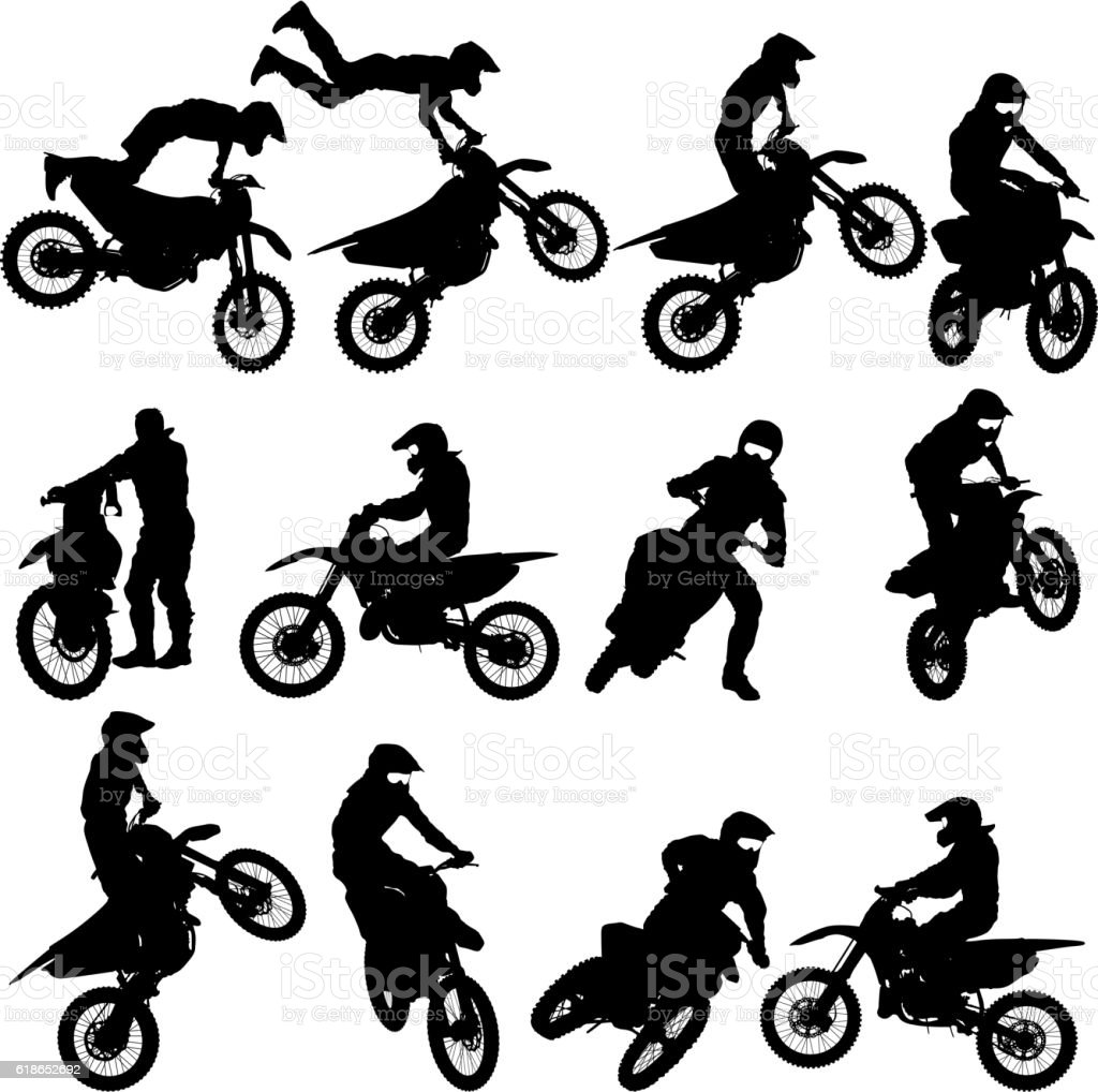 Set of biker motocross silhouettes, Vector illustration vector art illustration