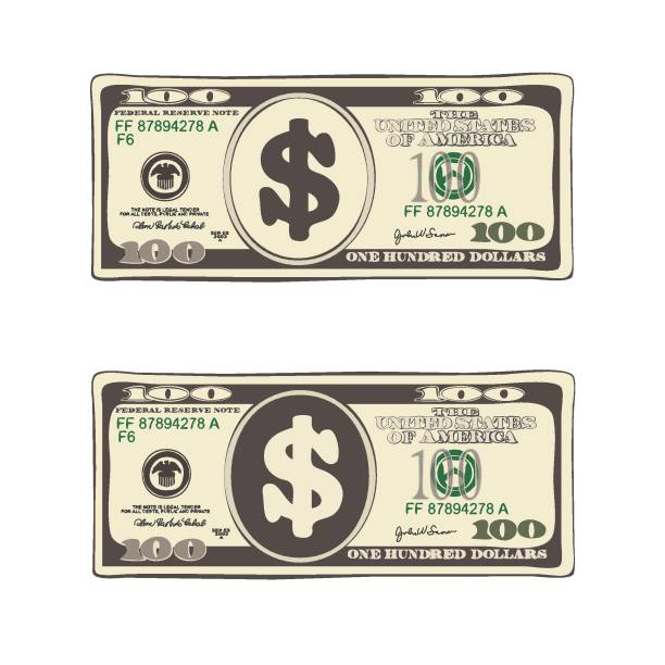 Set of bill one hundred dollars in flat style, isolated on white. Design of 100 dollars. Set of bill one hundred dollars. Template suitable for discount cards, leaflet, coupon, flyer, voucher. Vector in flat style. Isolated on white. american one hundred dollar bill stock illustrations