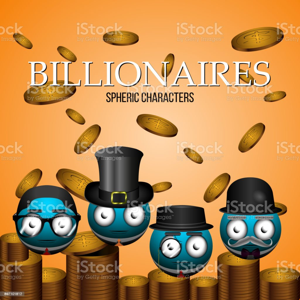 Set of billionaire emotes vector art illustration