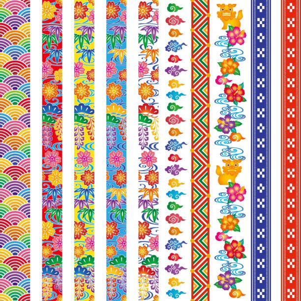 Set of Bingata banners. Bingata: traditional design of Okinawa. Okinawa is one of Japanese prefecture. naha okinawa stock illustrations