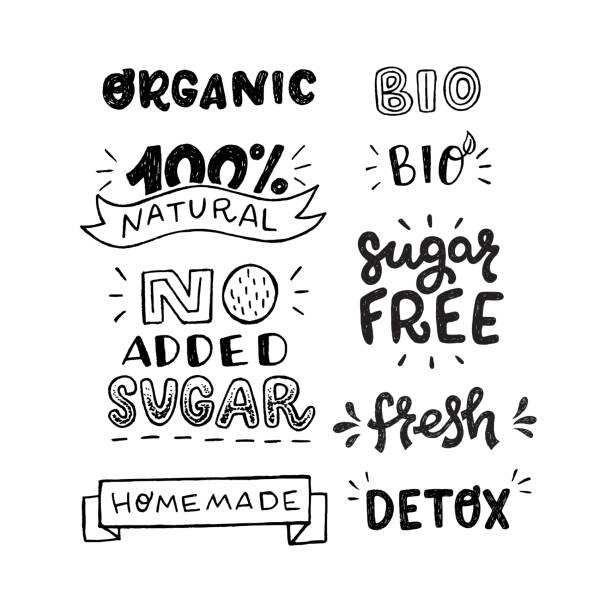 Set of bio, organic and sugar free inscriptions Set of black and white hand drawn inscriptions. Stickers with lettering text Organic, 100% Natural, No Added Sugar, Homemade, Bio, Sugar Free, Fresh and Detox. Healthy food theme messages for labels short phrase stock illustrations