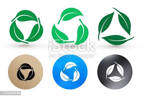 istock Set of biodegradable recyclable plastic free package icon. Bio recyclable degradable and recycle leaves label logo template. Vector illustration. Isolated on white background. 1172276134