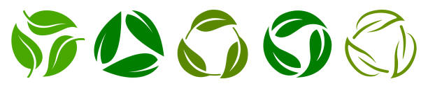 Set of biodegradable recyclable plastic free package icon, recycle leaves label logo template. Set of green leaf recycle, means using recycled resources, recycling signs, recycle collection icon Set of biodegradable recyclable plastic free package icon, recycle leaves label logo template. Set of green leaf recycle, means using recycled resources, recycling signs, recycle collection icon repetition stock illustrations