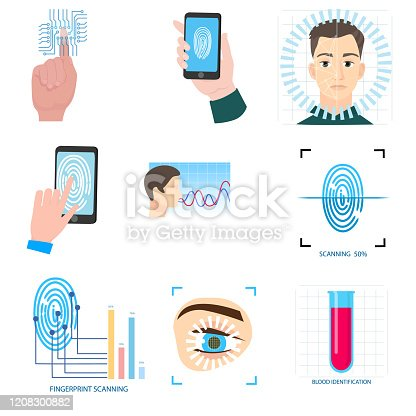 Set of biometric modern icons technology in different equipment, for home or office security. Flat style. Vector illustration on white background