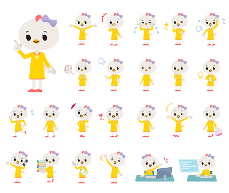 A set of Bird girl with who express various emotions