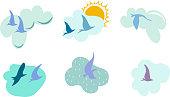 Set of birds flying on clouds.  Editable Vector illustration.