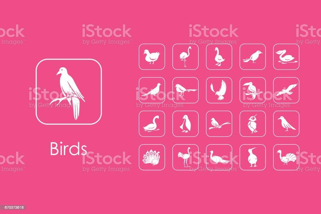 Set of birds simple icons vector art illustration