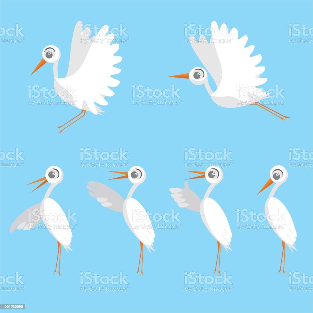 Set Of Birds Stork Cute Birds Cartoon Characters Isolated On Blue