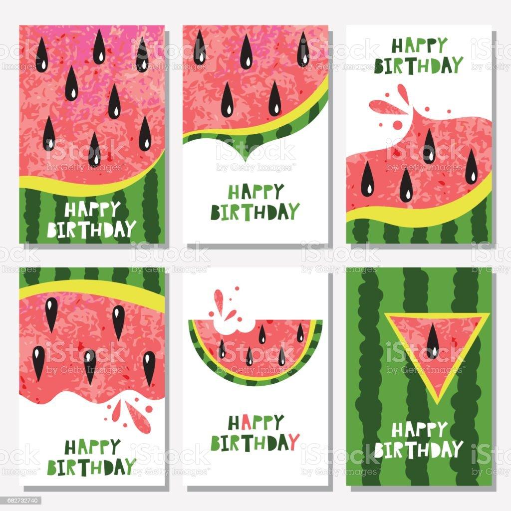 Set of birthday backgrounds with watermelon - illustrazione arte vettoriale