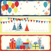 Three whimsical banners: one with colorful balloons and sprites; another with party hats, flags, and confetti; and one with colorful retro styled presents.  Each on a polka dot background.  Perfect for birthdays, celebrations, and parties.
