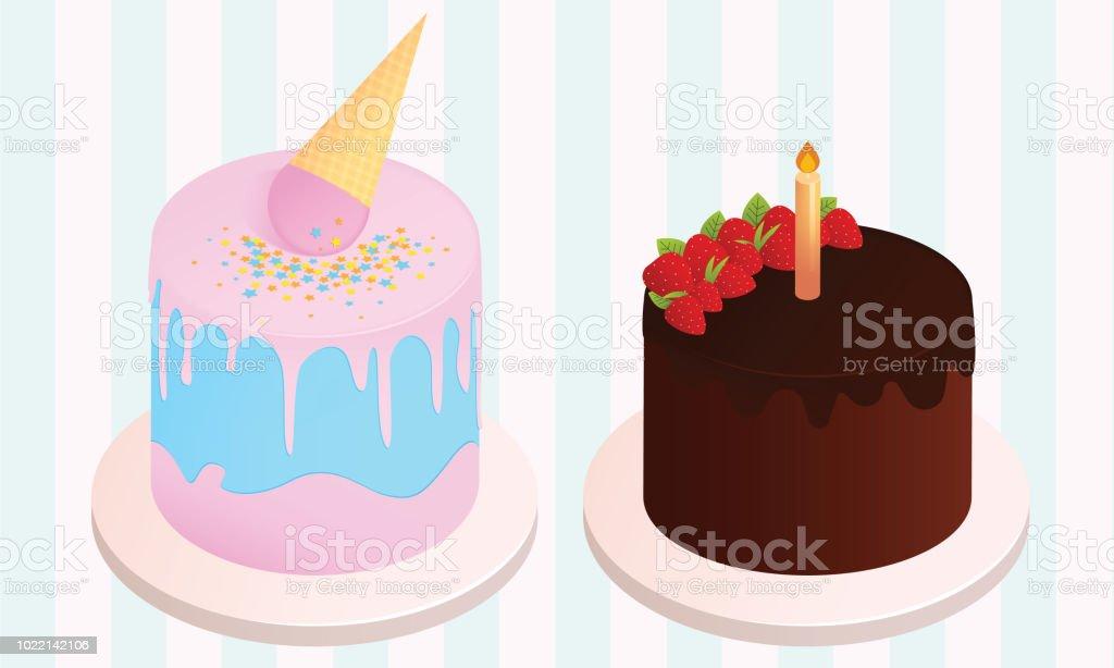 Enjoyable Set Of Birthday Cakes Birthday Party Elements Ice Cream Cake And Funny Birthday Cards Online Drosicarndamsfinfo