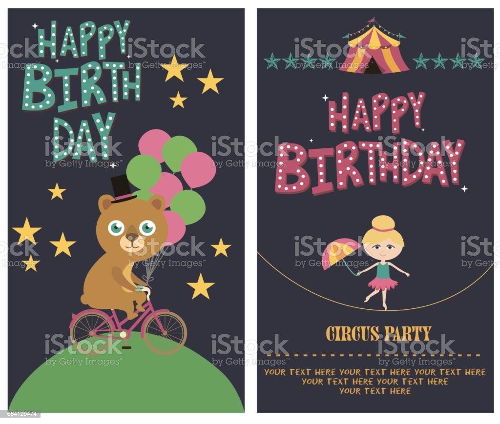 Set verjaardagskaart met circus thema royalty free set verjaardagskaart met circus thema stockvectorkunst en meer beelden van achtergrond - thema