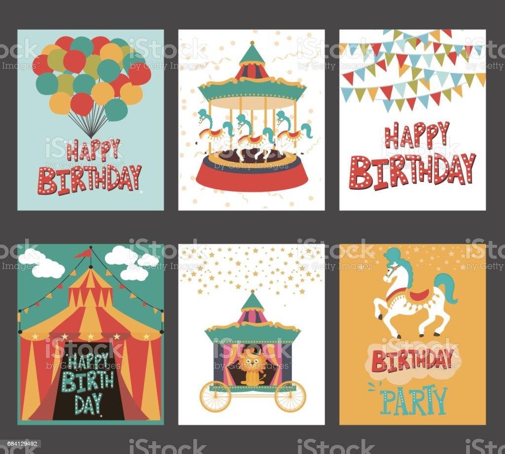 Set of birthday card with circus theme set of birthday card with circus theme - stockowe grafiki wektorowe i więcej obrazów balon royalty-free