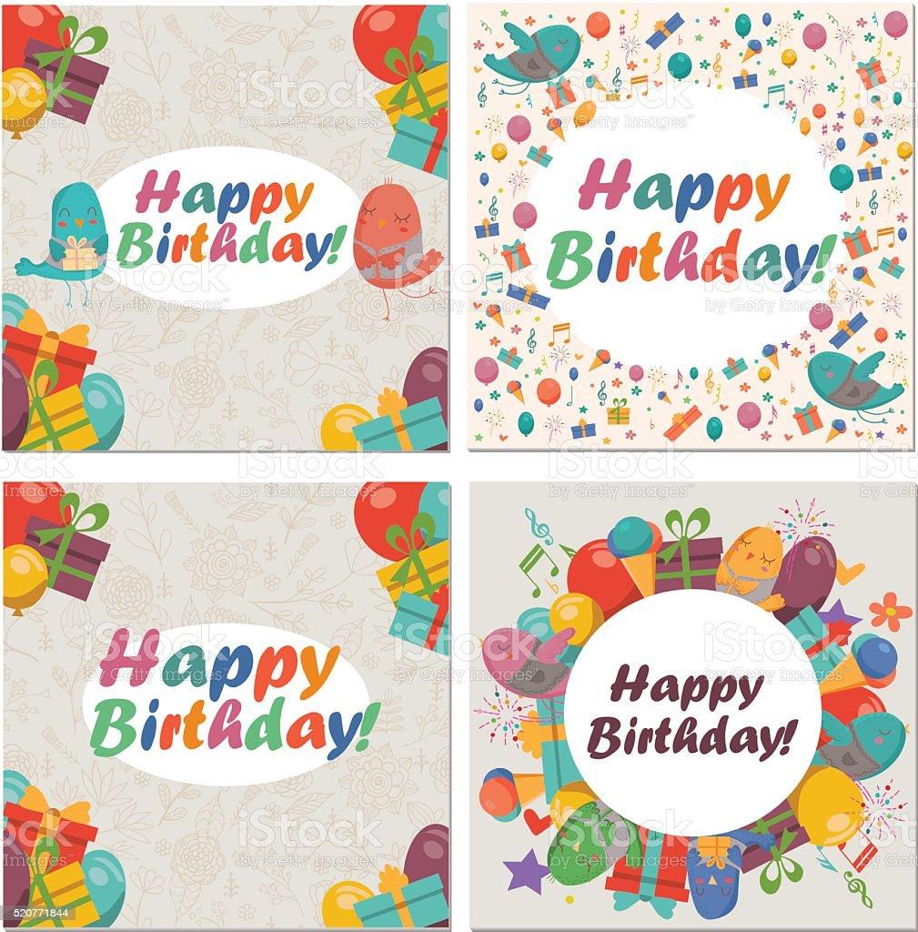 Set of birthday card with cute birdsflowers and balloons stock set of birthday card with cute birdsflowers and balloons royalty free stock vector izmirmasajfo