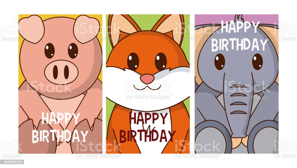 Set Of Birthday Cards With Animals Royalty Free Stock