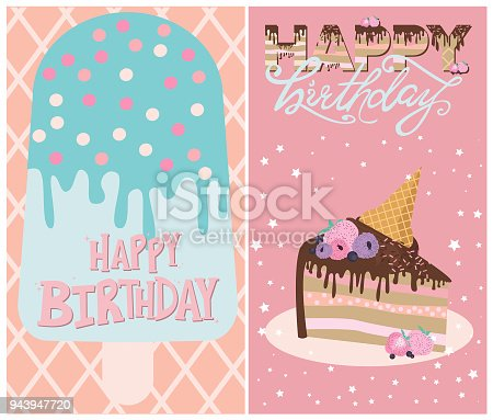 Set Of Birthday Cards With Ice Cream And Cakes Stock Vector Art