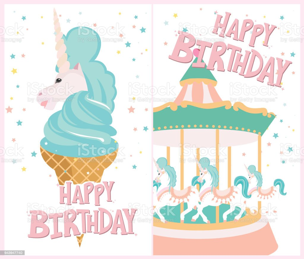 Set Of Birthday Cards With Ice Cream And Carousel Stock Vector Art