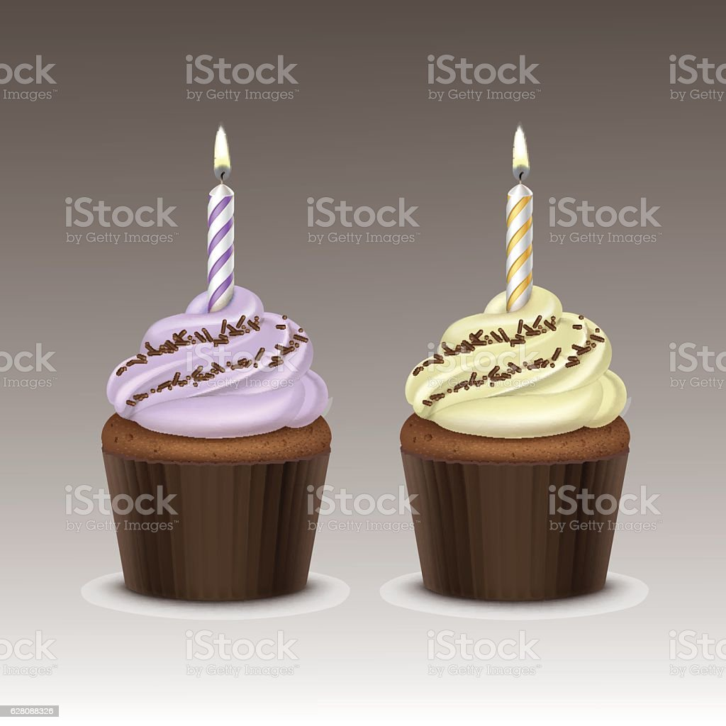 Set of Birthday Cupcake with Cream, Chocolate Sprinkles, One Candle - Illustration vectorielle