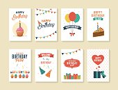 Birthday greeting and invitation cards. White Background.