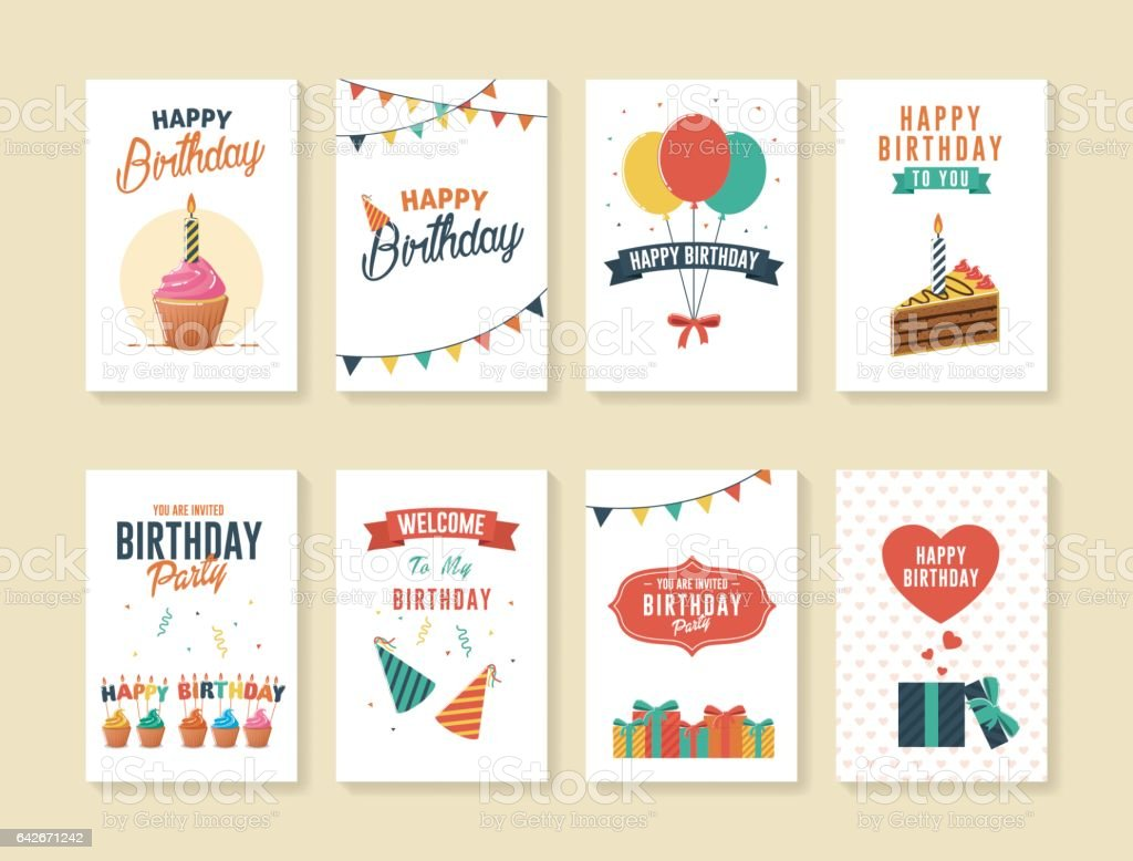 Set of Birthday Greeting and Invitation Cards vector art illustration