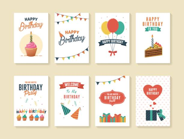 set of birthday greeting and invitation cards - happy birthday cake stock illustrations, clip art, cartoons, & icons