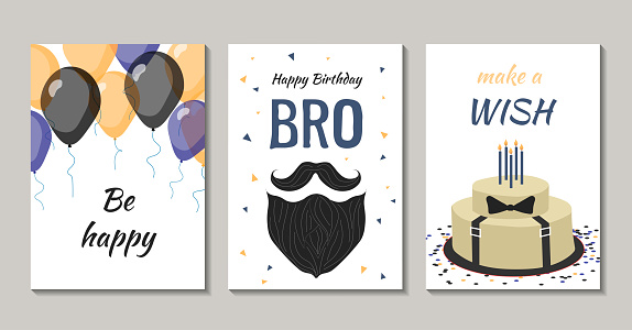 Set of birthday greeting cards design for man.
