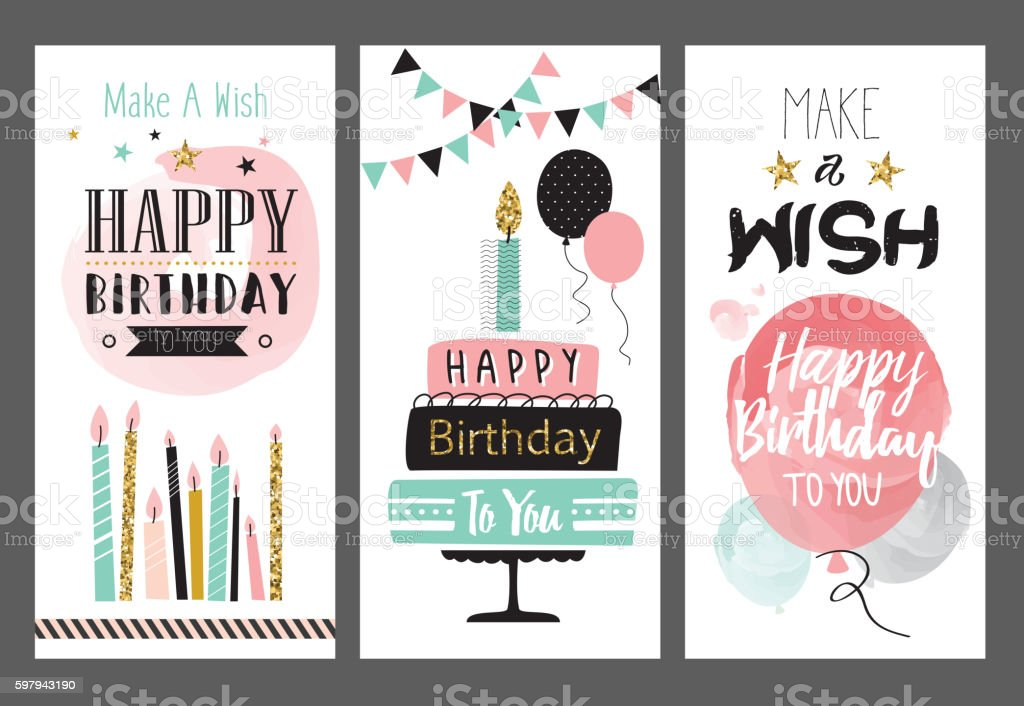 Set Of Birthday Greeting Cards Design stock vector art 597943190 – Set of Birthday Cards