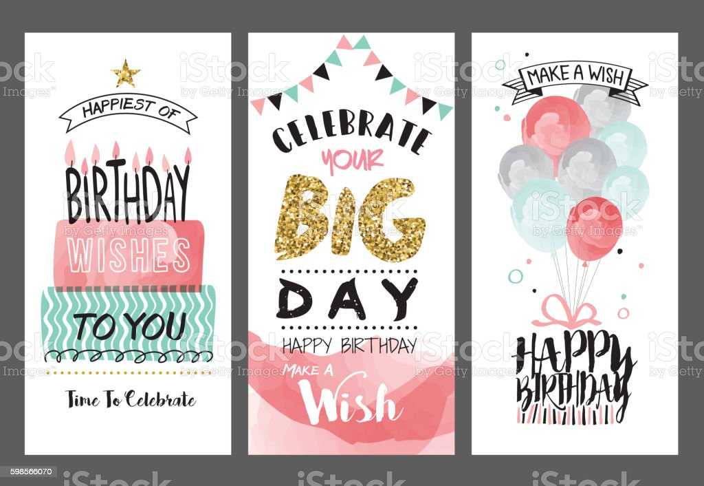 Set of birthday greeting cards design vector art illustration