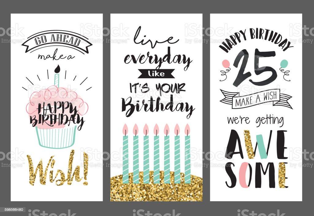 Set of birthday greeting cards design vector art illustration