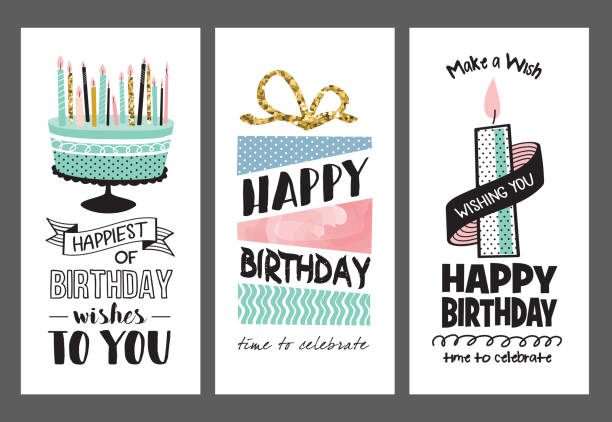 set of birthday greeting cards design - happy birthday cake stock illustrations, clip art, cartoons, & icons