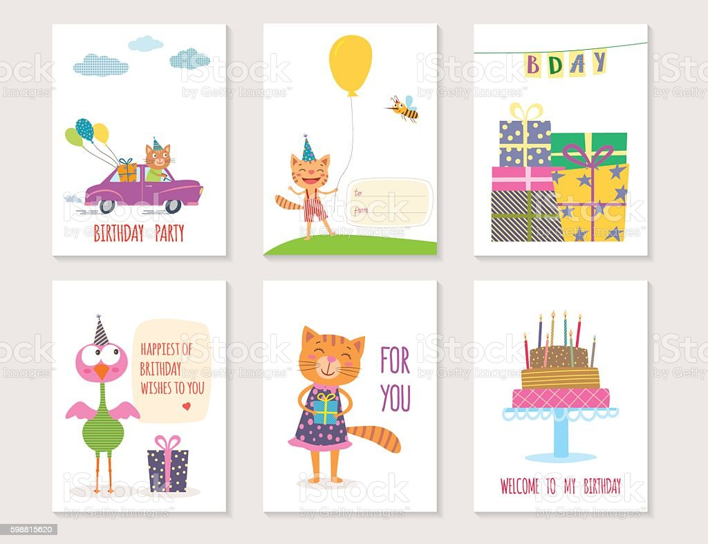 Set Of Birthday Greeting Cards Design With Cartoon Animals Lizenzfreies