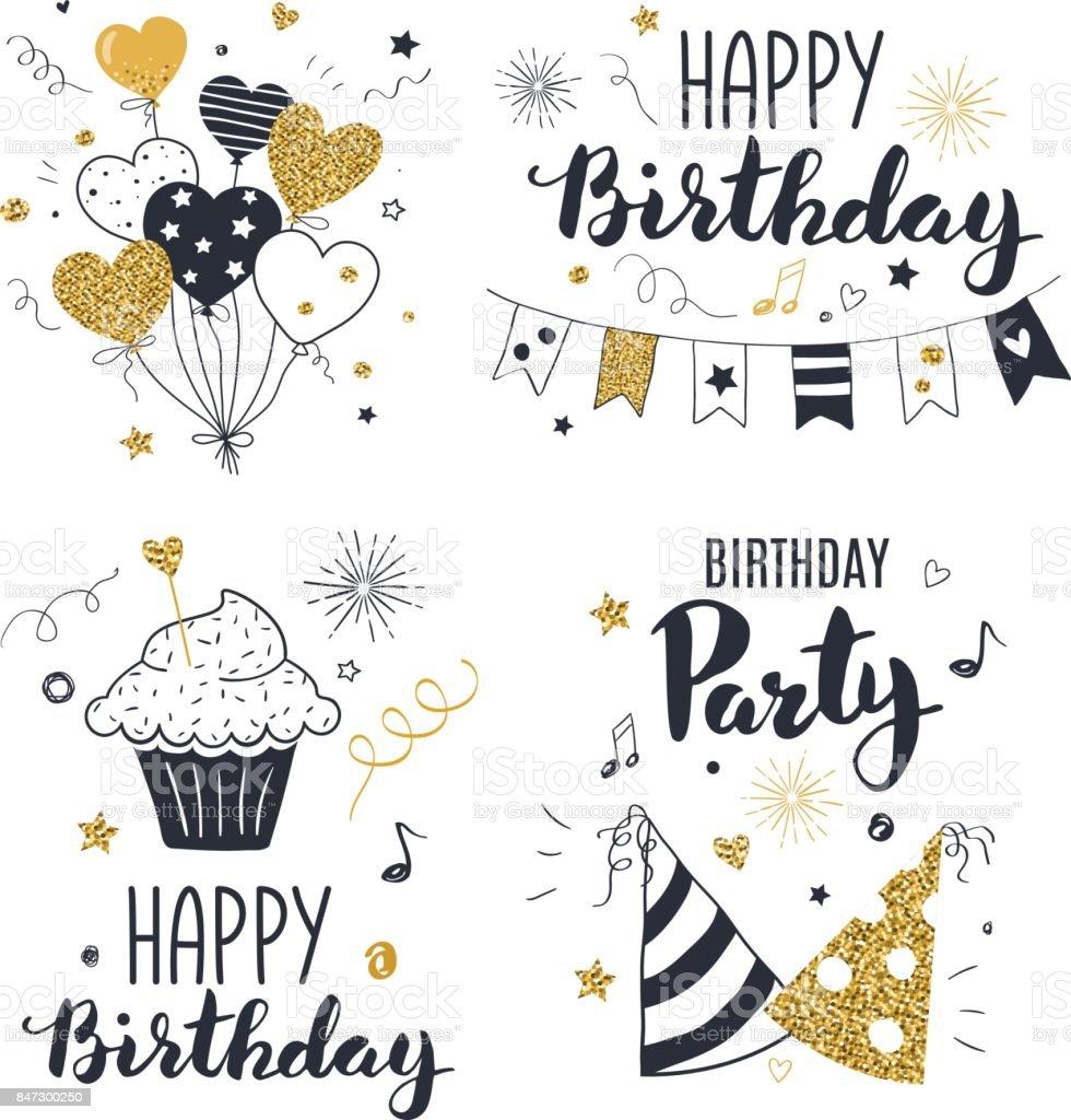 Conjunto de tarjetas de felicitación de cumpleaños. - ilustración de arte vectorial