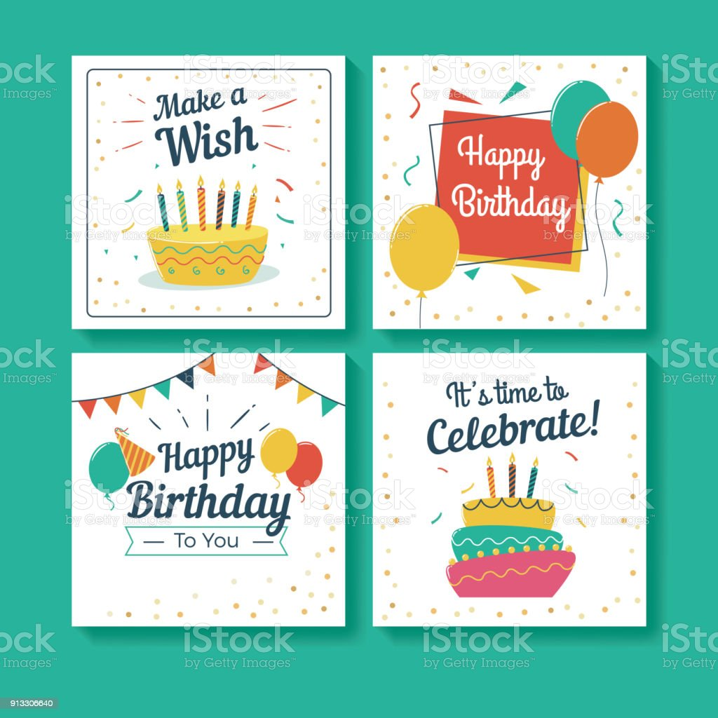 Set of Birthday Greeting Cards vector art illustration