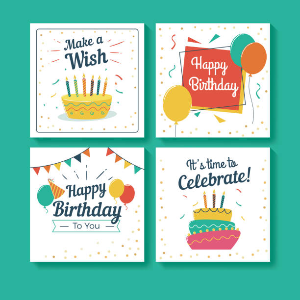 set of birthday greeting cards - happy birthday cake stock illustrations, clip art, cartoons, & icons