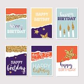 Set of birthday greeting cards with gold glitter design. Vector