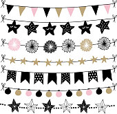 Set of birthday, New Year decorative borders, strings, garlands, brushes. Party decoration with Christmas balls, baubles, light bulbs. Bunting flags and paper lanterns. Isolated vector objects.