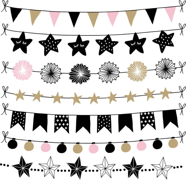 Set of birthday, New Year decorative borders, strings, garlands, brushes. Party decoration with Christmas balls, baubles, light bulbs, bunting flags and paper lanterns. Isolated vector objects Set of birthday, New Year decorative borders, strings, garlands, brushes. Party decoration with Christmas balls, baubles, light bulbs. Bunting flags and paper lanterns. Isolated vector objects. caucasian ethnicity stock illustrations