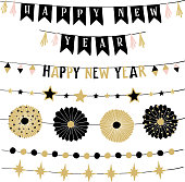 Set of birthday or New Year decorative borders, strings or garlands. Party decoration with stars, bunting flags and paper rosettes . Black and gold isolated vector objects.