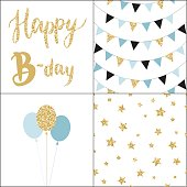 Set of Birthday party cards and seamless pattern backgrounds. Hand drawn vector illustration in scandinavian style.