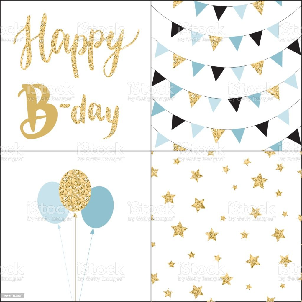 Set of Birthday party cards and seamless pattern backgrounds. vector art illustration