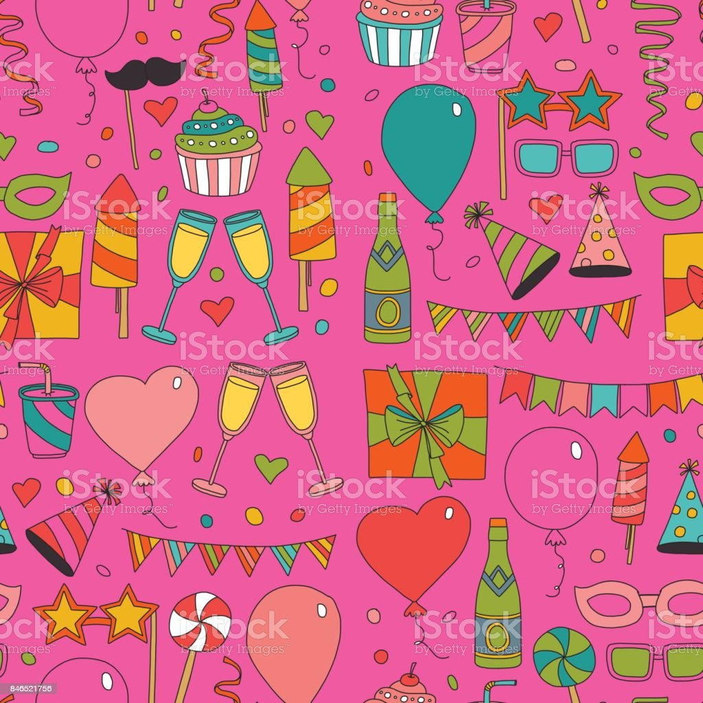Set Of Birthday Party Design Elements Kids Drawing Doodle Icons ...
