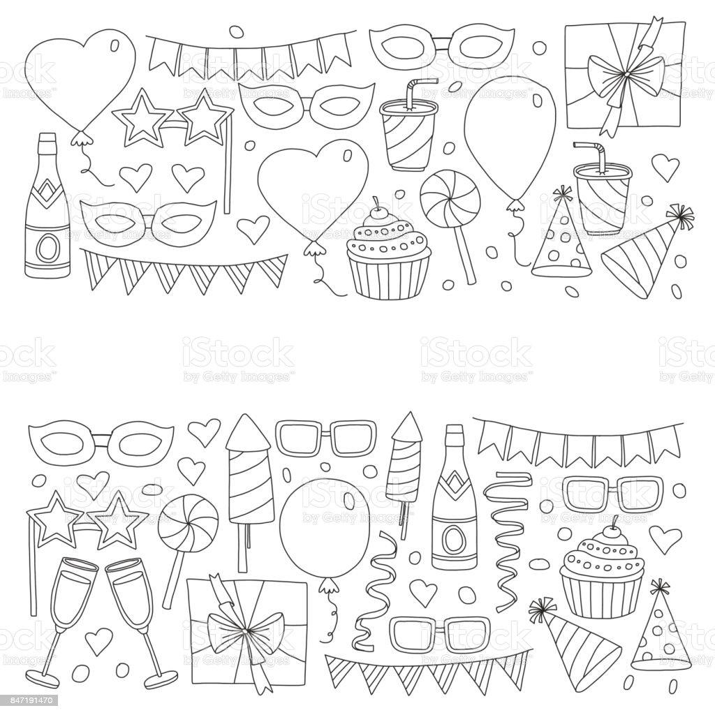 Festlegen Der Geburtstagparteidesignelemente Kinder Zeichnen Doodle